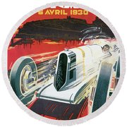 Monaco Grand Prix Vintage Poster Round Beach Towel