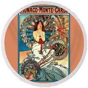 Monaco Monte Carlo Round Beach Towel by Alphonse Maria Mucha