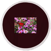 Monarch Among The Asters Round Beach Towel