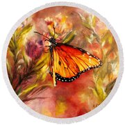 Monarch Beauty Round Beach Towel
