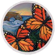 Monarch Butterflies At Natural Bridges Round Beach Towel by Jen Norton