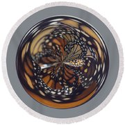 Monarch Butterfly Abstract Round Beach Towel