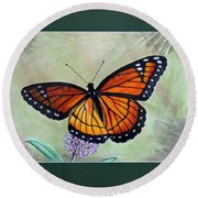 Viceroy Butterfly By George Wood Round Beach Towel