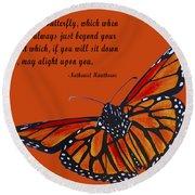 Monarch Butterfly Pismo Beach Round Beach Towel