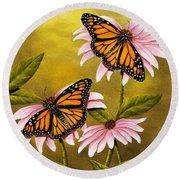 Monarchs And Coneflower Round Beach Towel
