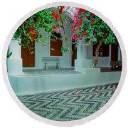 Monastery Symi Greece Round Beach Towel