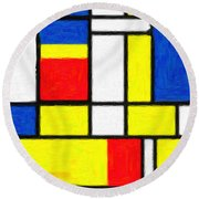 Mondrian Rectangles  Round Beach Towel