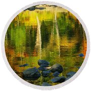 Monet Autumnal 02 Round Beach Towel by Aimelle