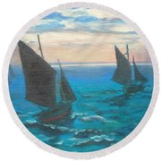 Monet's Boats Leaving The Harbor Round Beach Towel