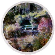 Monet's Bridge In Autumn Round Beach Towel
