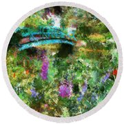 Monet's Bridge In Spring Round Beach Towel