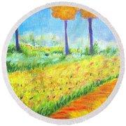 Monet's Garden Path Round Beach Towel