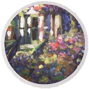 Monet's Home In Giverny Round Beach Towel