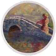 Monet's Lady Round Beach Towel