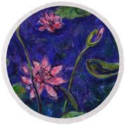 Monet's Lily Pond I Round Beach Towel