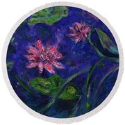 Monet's Lily Pond II Round Beach Towel