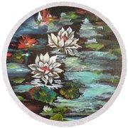 Monet's Pond With Lotus 1 Round Beach Towel