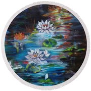 Monet's Pond With Lotus 11 Round Beach Towel
