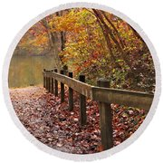 Monet's Trail Round Beach Towel by Debra and Dave Vanderlaan