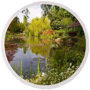 Monet's Water Garden 2 At Giverny Round Beach Towel