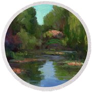 Monet's Water Lily Pond Round Beach Towel
