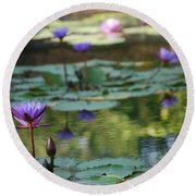 Monet's Waterlily Pond Number Two Round Beach Towel