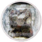 Money Frozen In A Jar Round Beach Towel