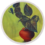 Money Plant - Still Life Round Beach Towel