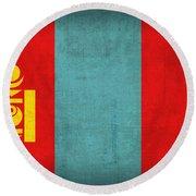 Mongolia Flag Vintage Distressed Finish Round Beach Towel