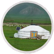 Mongolian Living Round Beach Towel