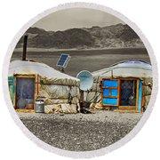 Mongolian Yurts Round Beach Towel