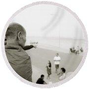 Monk In Vientiane Round Beach Towel