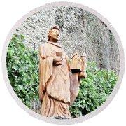 Monk Of St Goar Round Beach Towel