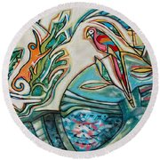 Monkey And Macaw Round Beach Towel