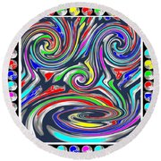 Monkey Dance Created Out Of Beads Of The Border Creative Digital Graphic Work Cartoon Comedy Backgro Round Beach Towel