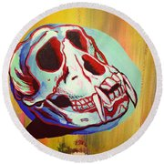 Monkey Skull Round Beach Towel