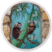 Monkey's Mosiac 02 Round Beach Towel