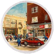 Monkland Street Hockey Game Montreal Urban Scene Round Beach Towel by Carole Spandau