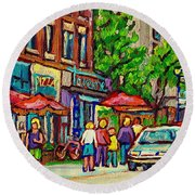 Monkland Tavern Corner Old Orchard Montreal Street Scene Painting Round Beach Towel