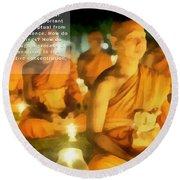 Monks In Meditation Round Beach Towel