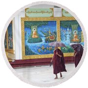 Monks In Rain At Shwedagon Paya Temple Yangon Myanmar Round Beach Towel