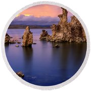 Mono Lake Afterglow Round Beach Towel by Inge Johnsson