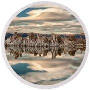 Mono Lake Reflections Round Beach Towel