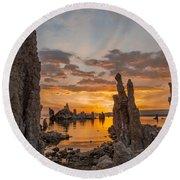Mono Lake Sunrise Round Beach Towel