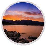 Mono Lake Sunset Round Beach Towel