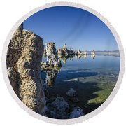 Mono Lake Tufas 3 Round Beach Towel