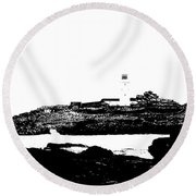 Monochromatic Godrevy Island And Lighthouse Round Beach Towel