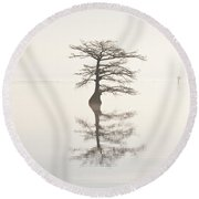 Monochromatic Morning On Lake Mattamuskeet  Two Round Beach Towel