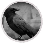 Monochrome Crow Round Beach Towel
