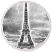 Monochrome Eiffel Tower Fractal Round Beach Towel